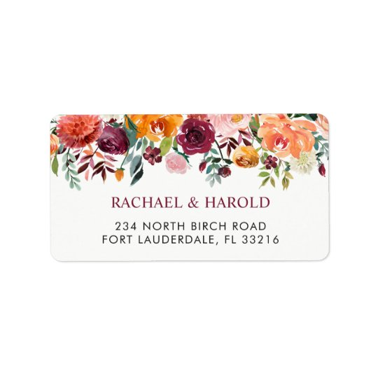 Burgundy Blush Pink Botanical Floral Address Label