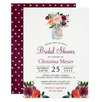 Burgundy Blush Pink Floral Mason Jar Bridal Shower Card