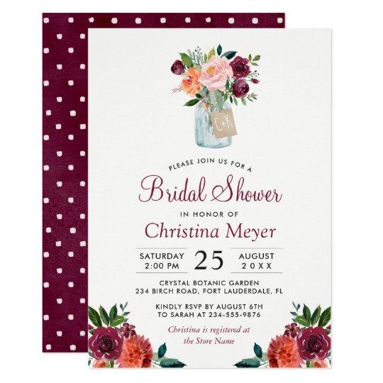 Burgundy Blush Pink Floral Mason Jar Bridal Shower