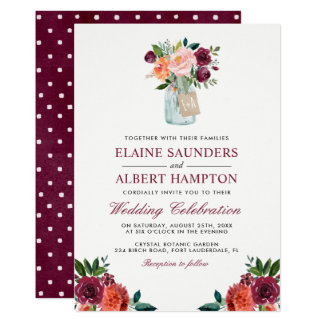 Burgundy Blush Pink Flowers Mason Jar Wedding Card