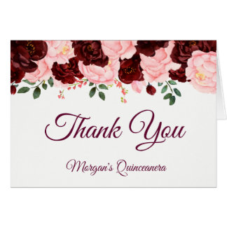 Burgundy Blush Pink Roses Quinceanera Thank You Card