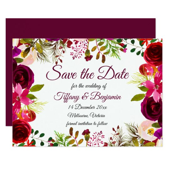 Burgundy Boho Garden Wedding Save The Date Invite
