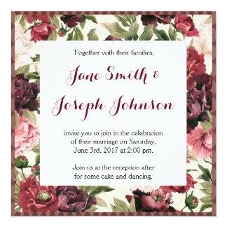 Burgundy Bouquet Square Wedding Invitation
