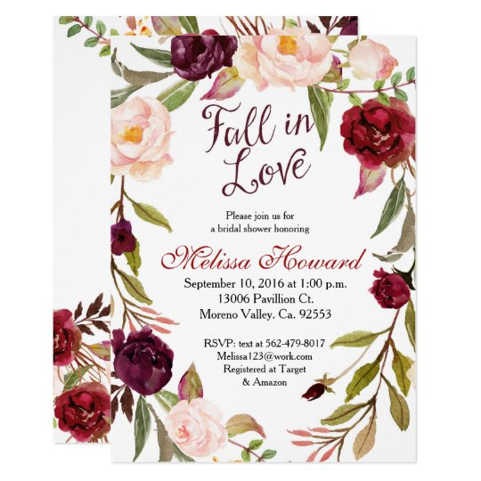 Burgundy Bridal Shower Fall in Love invitation