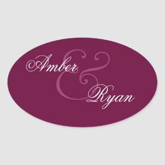 BURGUNDY Bride and Groom Wedding Oval Oval Sticker