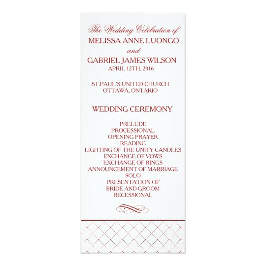 Burgundy Checked Pattern Wedding Ceremony Program