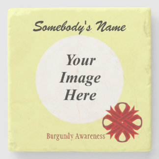 Burgundy Clover Ribbon by Kenneth Yoncich Stone Coaster