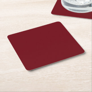 Burgundy Color Customize This! Square Paper Coaster