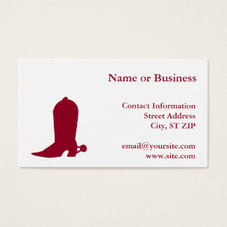 Burgundy Cowboy Boot Business Card