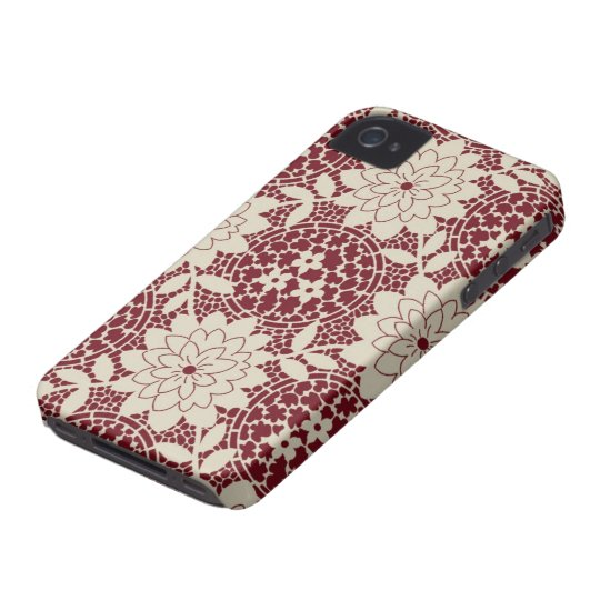 burgundy creme floral lattice damask iPhone 4 covers
