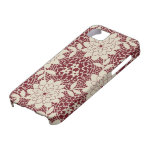 burgundy creme floral lattice damask iPhone 5 covers