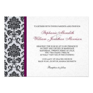 Burgundy Damask Monogram Invitation