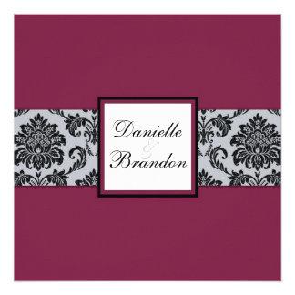 Burgundy Damask Monogram Wedding Invitation