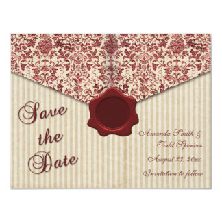 Burgundy Damask Save the Date 11 Cm X 14 Cm Invitation Card