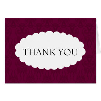 Burgundy Damask Wedding Thank You Card