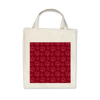 Burgundy dog paw print pattern bag