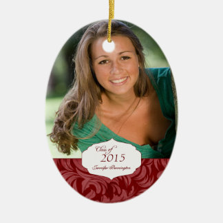 Burgundy elegant pattern graduation photo ornament