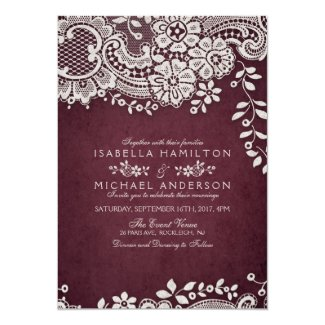 Burgundy elegant vintage lace rustic wedding