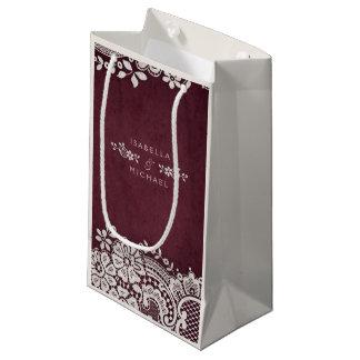 Burgundy elegant vintage lace rustic wedding favor small gift bag