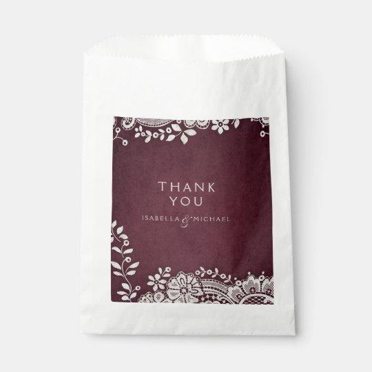 Burgundy elegant vintage lace rustic wedding favour bags
