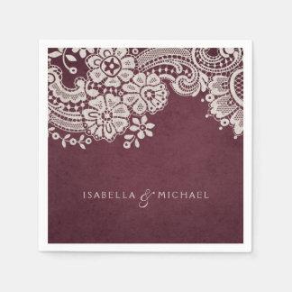 Burgundy elegant vintage lace rustic wedding paper serviettes