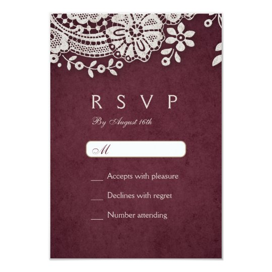 Burgundy elegant vintage lace rustic wedding RSVP Card