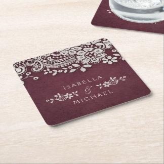 Burgundy elegant vintage lace rustic wedding square paper coaster