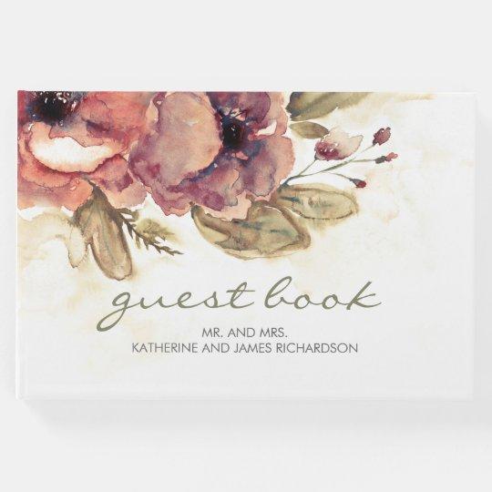 Burgundy Fall Watercolor Flowers Elegant Wedding Guest Book