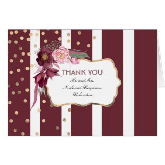 Burgundy Floral and Gold Confetti Dots Thank You Card