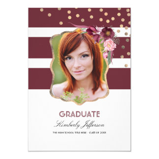 Burgundy Floral and Gold Confetti Photo Graduation Card