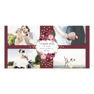 Burgundy Floral and Gold Wedding Thank You Photo Cards