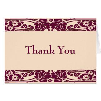 Burgundy floral Art Nouveau Thank you Card