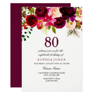 Burgundy Floral Boho 80th Birthday Party Invite