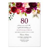 Boho 80th Birthday Party Invite