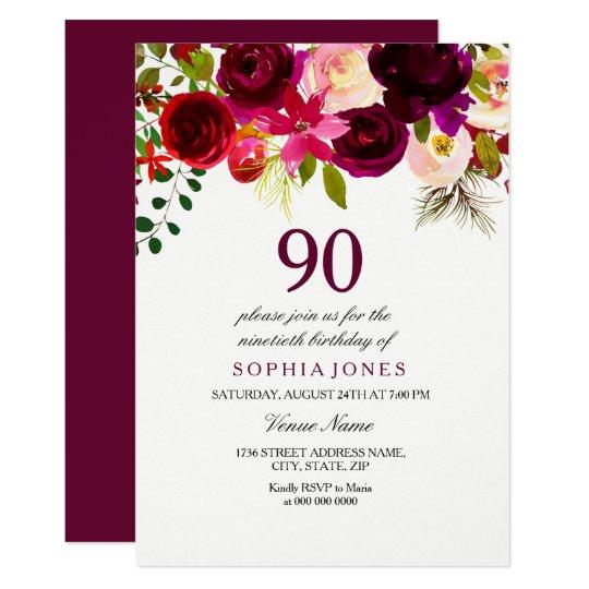 Burgundy Floral Boho 90th Birthday Party Invite