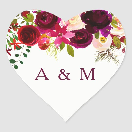 Burgundy Floral Boho all occasion favour Heart Sticker