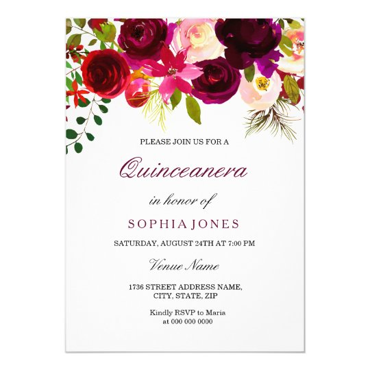 Burgundy Floral Boho Quinceanera Party Invitation