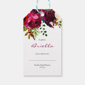 Burgundy Floral Bridal Shower no wrap display gift Gift Tags