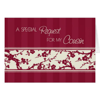 Burgundy Floral Cousin Bridesmaid Invitation Card
