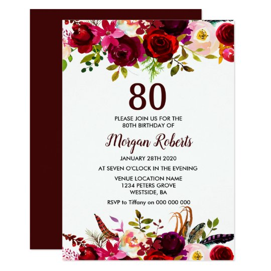 Burgundy Floral Elegant 80th Birthday Party Invite