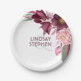 Burgundy Floral Elegant Wedding 7 Inch Paper Plate