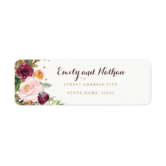 Burgundy Floral Glitter Return Address Label