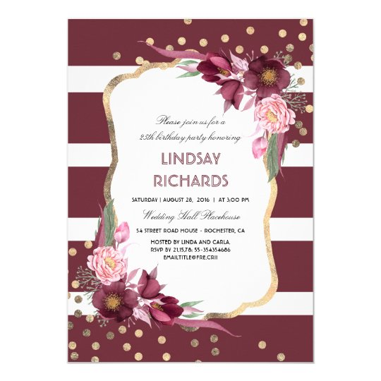 Burgundy Floral Gold Confetti Chic Birthday Party Card
