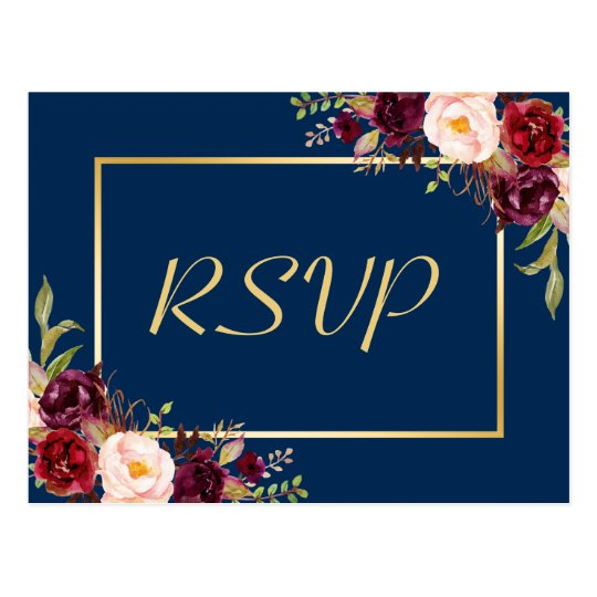 Burgundy Floral Gold Navy Blue Wedding RSVP Reply