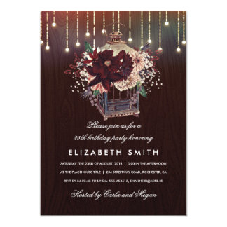 Burgundy Floral Lantern Rustic Fall Birthday Party Card