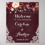 Burgundy Floral Lights Lace Wedding Welcome Sign