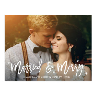 Burgundy Floral Married and Merry Christmas Photo Postcard