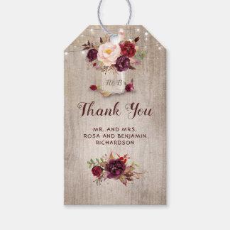 Burgundy Floral Mason Jar Rustic Wedding Gift Tags