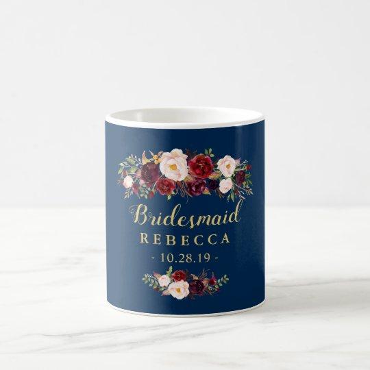 Burgundy Floral Navy Blue Bridesmaid Wedding Coffee Mug