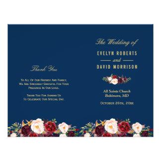 Burgundy Floral Navy Blue Folded Wedding Program 21.5 Cm X 28 Cm Flyer